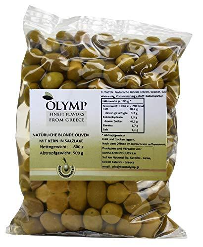 Helle griechische Oliven mit Stein von Olymp | Natürliche handverlesene griechische Oliven | 800 g