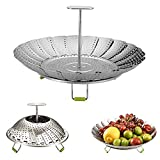 9' Stainless Steel Steamer Basket, Vegetable Steamer Basket, Food Steamer, Vegetable Steamer, Foldable Steamer Insert for Veggie Meet Cooking, Expandable to Fit Various Size Pot Upgraded
