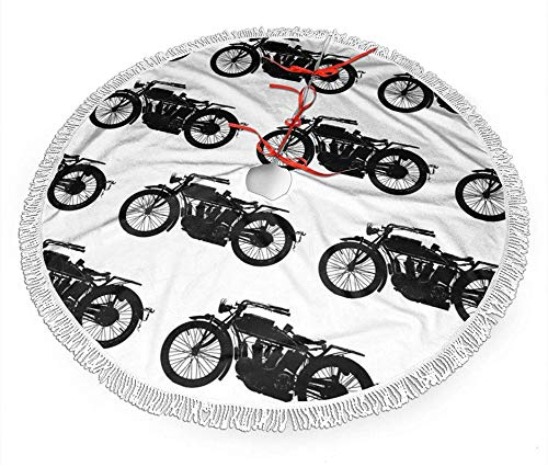 BONRI Antique Motorcycle Merry Christmas Tree Skirt Funny Rustic Annual Rings,for Xmas Holiday Party Supplies Large Tree Mat Decor,Halloween Ornaments 30' for a Mini Tree Top Table Decorations