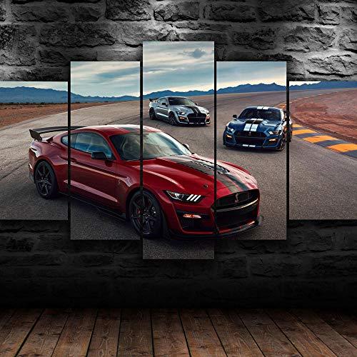 AWER Lienzos Cuadros Impresos Coche deportivo rojo mustang Artística Imagen Gráfica Wall Art Panel Cuadros Modernos Decorativo para Tu Salón o Dormitorio 5 Piezas 150x80cm