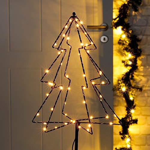 HI 3D LED Gartenstecker Tannenbaum mit 52 warmweißen LEDs Weihnachtsbaum Christbaum Lichterkette für Innen und Außenbereich Weihnachsdeko Weihnachtsbeleuchtung