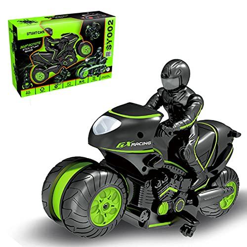 Motocicleta de Control Remoto, Tornillo de Rueda Lateral, Motocicleta de Control Remoto RC, con Caracteres de equitación, un Regalo para niños y niñas de 4 a 12 años,Verde,Window Version
