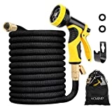 Acmind 100FT Expandable Garden Hose, Extra Strength Fabric and Double Latex Core Water Hose, 3/4' Solid Brass Fittings Flexible No-Kink Expanding Hose With 9 Function Spray Nozzle