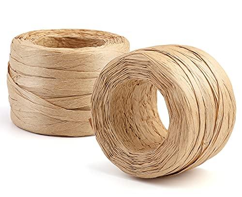 KAMAIKA 2 Rollen Raffia Papierschnur(50m/Rollen), Natur Raffia Papierband, Kunst Bast Papierband für Geschenkverpackung, Handwerksprojekte, Dekoration, Weben und Gärtnern