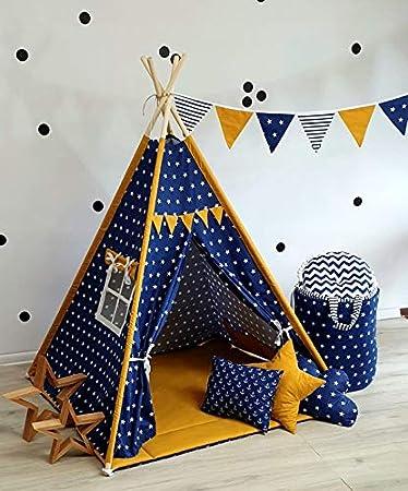 Tipi Teepee 4 Zubehör Spielzelt Kinder Zelt Indianerzelt Kissen Decke Türkis-Gra