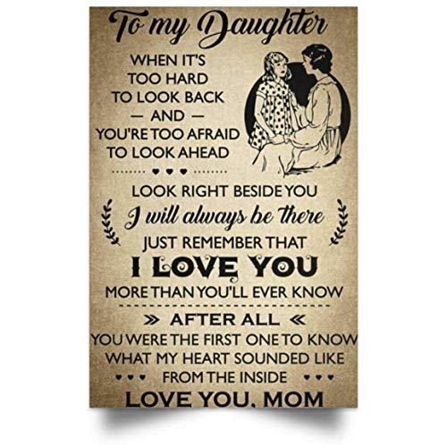 Eeypy I Love You Poster to My Daughter from Mom Metal Tin Sign Pintura de hierro para amantes del hogar, regalo, garaje, rústico, novedad, divertido, letreros de metal, decoración de pared, 20 x 30 cm