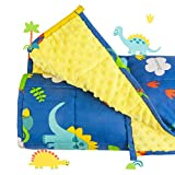 Sivio 3 lbs Weighted Blanket for Kids, Minky Fleece and 100% Cotton Throw Blanket with Beads, Reversible Heavy Blanket for Children Between 19-30 lbs, 36x48 Inch, Blue Dinosaur