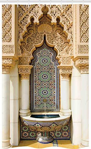 ABAKUHAUS marokkanisch Schmaler Duschvorhang, Vintage Eastern Art, Badezimmer Deko Set aus Stoff mit Haken, 120 x 180 cm, Elfenbein Hellbraun