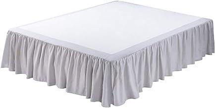 تنورة سرير من الكتان الفرنسي المغسول من ميدو بارك، كشكشة غبار، حجم كوين، نعومة فائقة، نمط كشكشة ، لون رمادي فضي