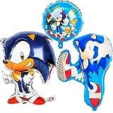 zcm Globo 1 Juego de Sonic Hedgehog Globos del Papel de los impulsos superhéroe Animado temáticos Niños Feliz del Partido de Brithday Decoración (Color : 3pcs)