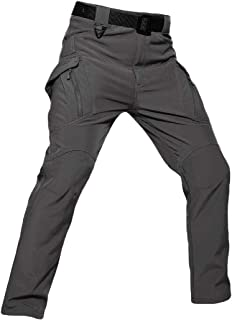 Men's Lined Outdoor Cargo Hiking Pants Water Repellent Thermal Snow Ski Pants Pockets