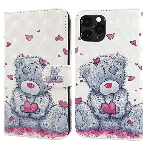 Ailisi iPhone 11 Pro 5.8 Zoll Hülle Teddy Bear 3D Muster Handyhülle Schutzhülle PU Leder Wallet Hülle Flip Hülle Klapphüllen Brieftasche Ledertasche Tasche Etui im Bookstyle