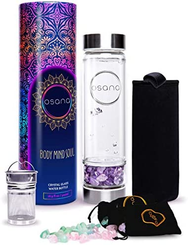 Crystal Water Bottle with 3 Changeable Healing Crystals Amethyst Rose Quartz Green Fluorite product image