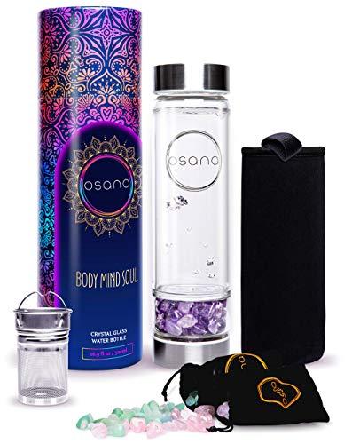 Crystal Water Bottle with 3 Changeable Healing Crystals – Amethyst, Rose Quartz, Green Fluorite – Loose Leaf Tea Bottle – Gem Elixir Infused Glass Water Bottle - 16.9 oz