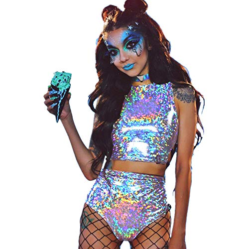Sallypan Frauen Rave Outfit 2 Stück, 2019 Shiny Festival Crop Top & Booty Shorts Unterteile Metallic Holographic Rainbow Outfits,Silver,XXL