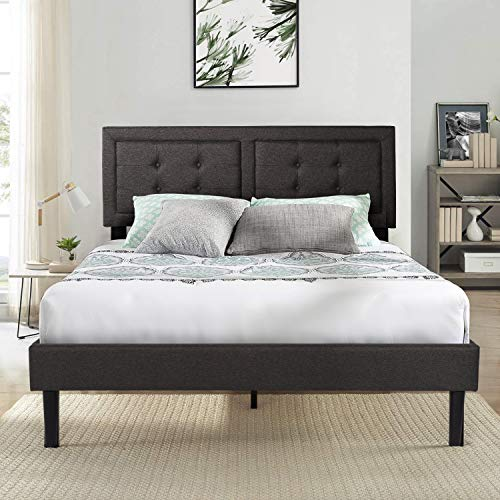 VECELO Upholstered Platform Bed Frame with Height Adjustable Headboard/Mattress Foundation with Strong Slat Support Easy Assembly Queen Dark Grey