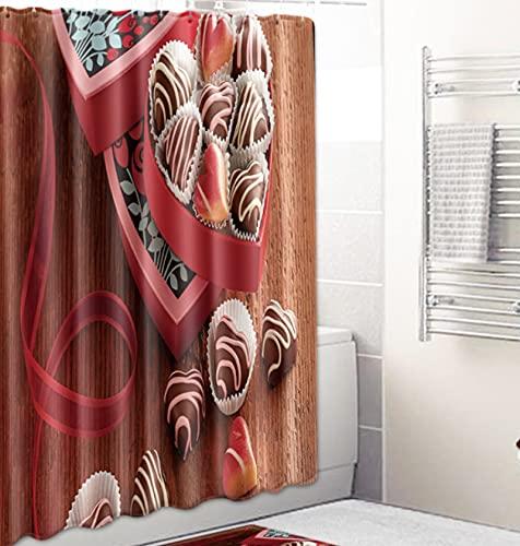 JOVEGSRVA Schimmel Proof Stoff Liebe Herz Schokolade Duschvorhang Für Bad Wasserdichter Badvorhang Badvorhang Mit 12 Haken