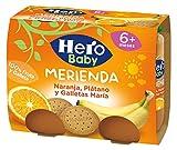 Hero Baby Merienda Puré de Naranja, Plátano y Galletas para Bebés a partir de 6 meses Pack de 2 x 190 g