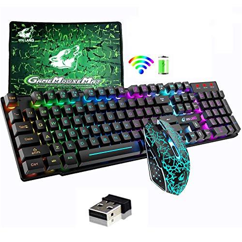 Souris sans fil avec rétroéclairage arc-en-ciel 2,4 G Fonction Mécanique Rechargeable 104 Touches Clavier Gaming + 2400 DPI 6 Boutons Optique Rainbow LED Gaming Mouse + Tapis de souris pour PC