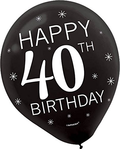 Assorted Colors 'Happy 40th BIRTHDAY' Latex Balloons (15 Pcs)