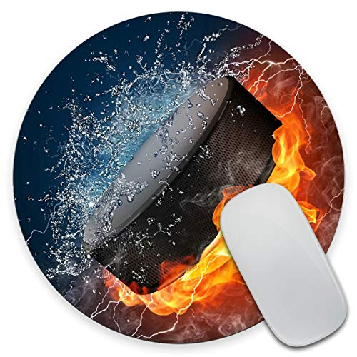 Amcove Flaming Hockey Puck Fire and Water Round Non-Slip Rubber Mousepad Gaming Mouse Pad 7.9'X7.9' inch