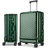 Langxj hj スーツケース キャリーバッグ 二重ファスナー式 容量拡張 アルミニウム合金デザイン 360°キャスター 機内持込可 厚くする 耐摩耗 TSAロック搭載 6022 (ビリジャン, S)