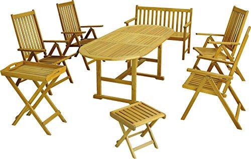 colourliving Salon de jardin 8 pièces Fauteuil pliant Table de jardin banc de jardin Tabouret certifié FSC® Bois d'acacia