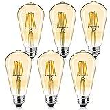 LED Bulbs 6 Packs 60 Watt Equivalent, Dimmable Edison Bulb 6W E26 Vintage Led Light Bulb, 2700K Amber Bulbs Warm White Light Soft White
