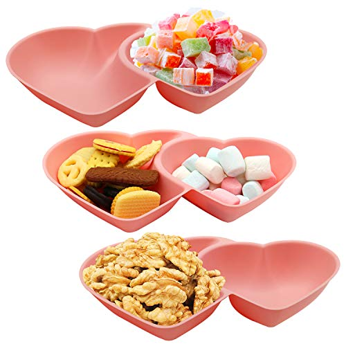 Set of 3 Candy Dish Snack Serving Tray Heart-Shaped 3-Slot Creative Dried Fruits Nuts Plate Salad Bowl for Home Kitchen Wedding Party Decoration (27X17X5 cm Pink)