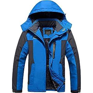 TACVASEN アウトドア 登山服 メンズ マウンテンパーカー 多機能 登山ジャケット 裏ボア フリース 登山 ウインドブレーカー フード付 取り外し可能