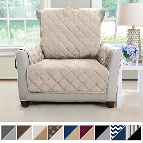 MIGHTY MONKEY Premium Reversible Chair Protector for Seat Width up to 23 Inch, Furniture Slipcover, 2 Inch Strap, Chairs Slip Cover Throw for Pets, Dogs, Cats, Armchair, Beige Latte