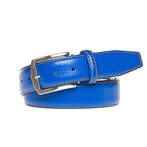 Bright Blue Italian Pebble Leather Belt