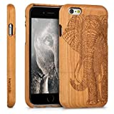 kwmobile Funda Compatible con Apple iPhone 6 / 6S - Carcasa de Madera para móvil - Case Trasero Elefante Tallado