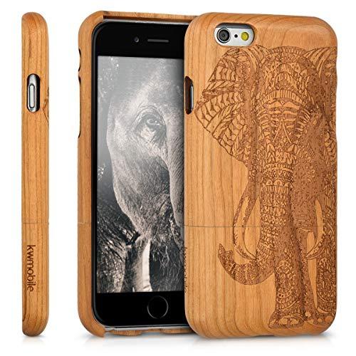 kwmobile Apple iPhone 6 / 6S Hülle - Handy Schutzhülle aus Holz - Cover Case Handyhülle für Apple iPhone 6 / 6S - Elefantenmuster Design Braun