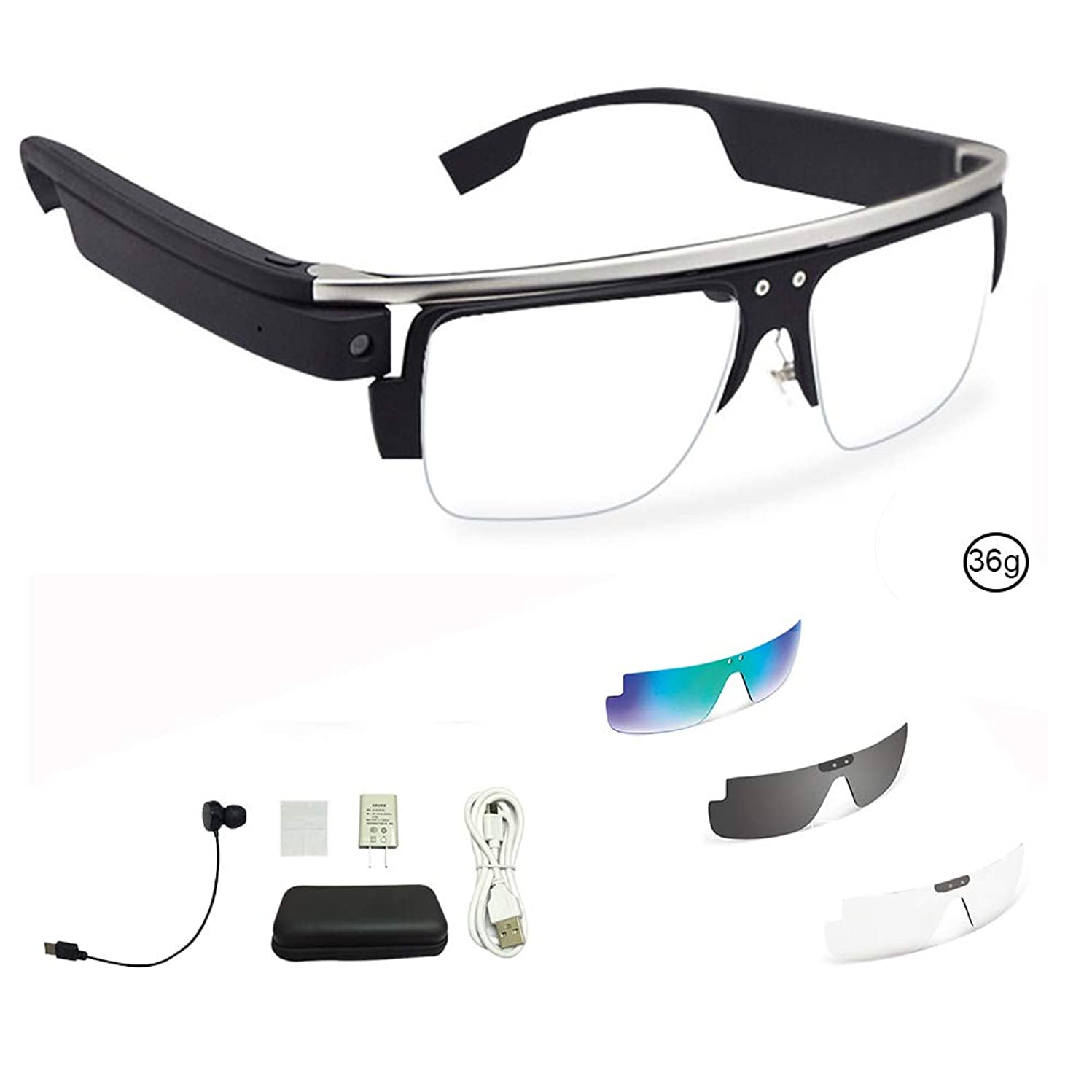 Smart Bluetooth Glasses Charging Type with Replaceable Polarized Lenses UV Protection Sunglasses Microphone Hands-Free Stereo, Suitable for Urban Sports Such as Cycling