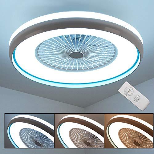 LED 3-Stufen Decken Ventilator Leuchte Tageslicht Lampe Lüfter Fernbedienung blau