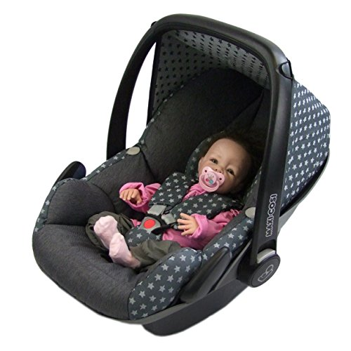 BAMBINIWELT Ersatzbezug für Maxi-Cosi PEBBLE 5-tlg, Bezug für Babyschale, Komplett-Set STERNE DUNKELGRAU XX
