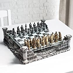in budget affordable Set of 3D chess pieces Roman gladiator 16.25 inches, bronze and silver