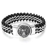 JewelryWe Schmuck Herren Armband, Gotik Löwe Geflochtene Kette Armreif, Echtleder Leder Edelstahl, Silber Schwarz