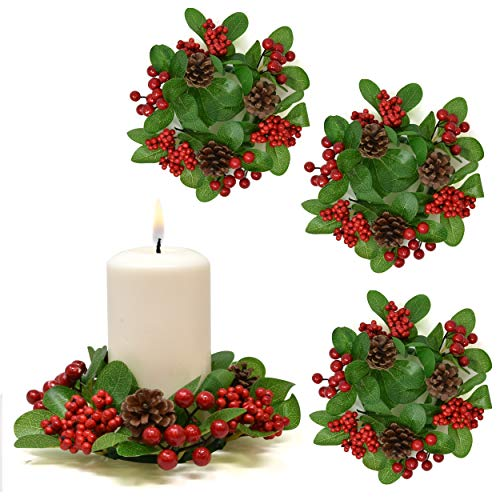 Gift Boutique Christmas Pillar Candle Ring Decorative Pine Set of 4, Versatile Holiday Centerpiece Festive Pillar Candle Holder - Holiday Table Party Ornament for Weddings, Parties and Home Decor