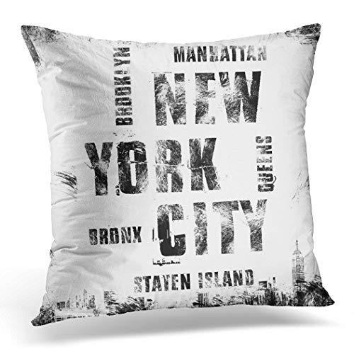 Topyee Funda de cojín de Nueva York City Street Nyc con emblema de la etiqueta 45 x 45 cm, decoración del hogar, funda de almohada cuadrada para sofá cama