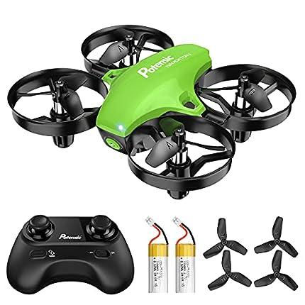Potensic Mini Drone para Niños, Drone A20 Quadcopter con Control Remoto, Un Botón de Despegue y Aterrizaje, Modo sin Cabeza, Fácil de Llevar, 3 Modos de Velocidad, 2 Baterías, Verde