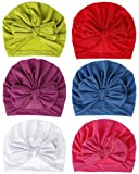 QandSweat Baby Girls' Hats & Caps Knotted Turban Cute Toddler Hat Hair Accessories 6-36M (Soft01-6Pack)