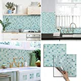 BEAUS TILE Decorative Tile Stickers Peel and Stick Backsplash Fire Retardant Tile Sheet (2, Mint)
