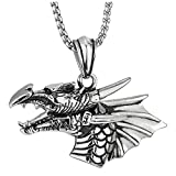 COOLSTEELANDBEYOND Vintage Pterosauria Dinosaurio Cabeza de Dragón Cuerno Colmillo Colgante, Collar con Colgante de Hombre, Acero