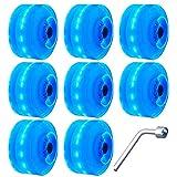 Taisei 8 ruedas LED Light Up Roller Skate ruedas de skate ruedas luminosas con rodamientos instalados para patinaje de doble línea en cubierta o de exterior y monopatín 32 x 58 mm 82A (color: azul)