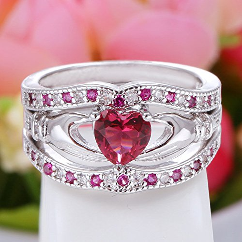 Goldfish 3PCs Women 925 Silver Ruby Celtic Irish Claddagh Ring Set Wedding Engagement (11)