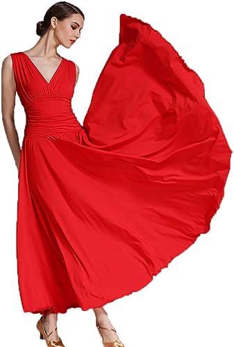 Liu Sensen Femme Classique Danse Jupe Latine Danse Belly Danse Costumes Deep V-Cou Rouge Lait Fibre De Bal Danse Plus Taille XL 2XL Prom Robe