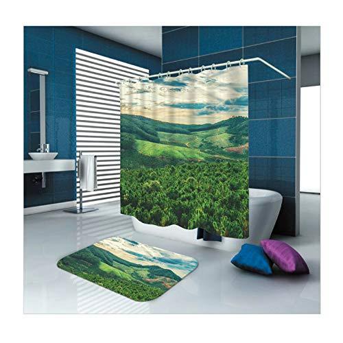 Daesar Toilettenteppich 40x60 Wald Anti-Schimmel Duschvorhang 165x200 cm, Badematte 2 Teilig