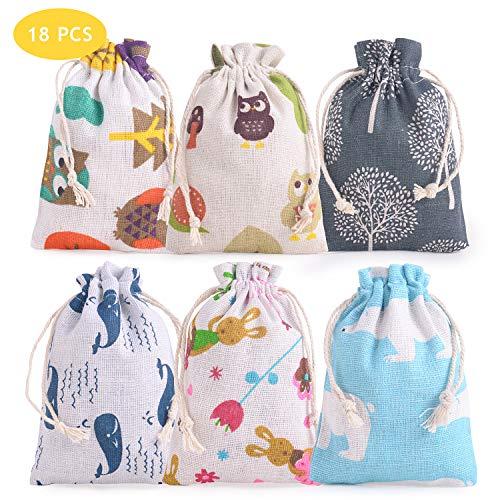 FORMIZON 18 Stück Ostertasche Tiere Jutebeutel Geschenk Tasche Tiermotive Süßer Hase Frühlingstiere Blumen Stoffbeutel Geschenktüte Geschenksäckchen Ostern für Kinder und Erwachsene